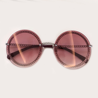 New Arrival Ladies Round Sunglasses Women 2019 Alloy Frame Chain Sun Glasses Female Oculos de sol UV400