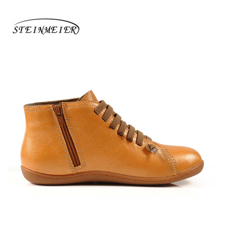 Kadınlar doğal koyun derisi deri rahat ayak bileği kış botu Rahat kaliteli yumuşak el yapımı düz ayakkabı mavi sarı çizmeler ile kürk