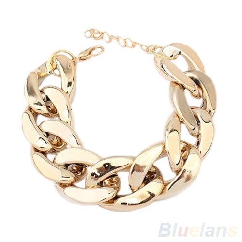 Women's Fashion Punk Simple Burnished Link Curb Chain Statement Bracelet Jewelry