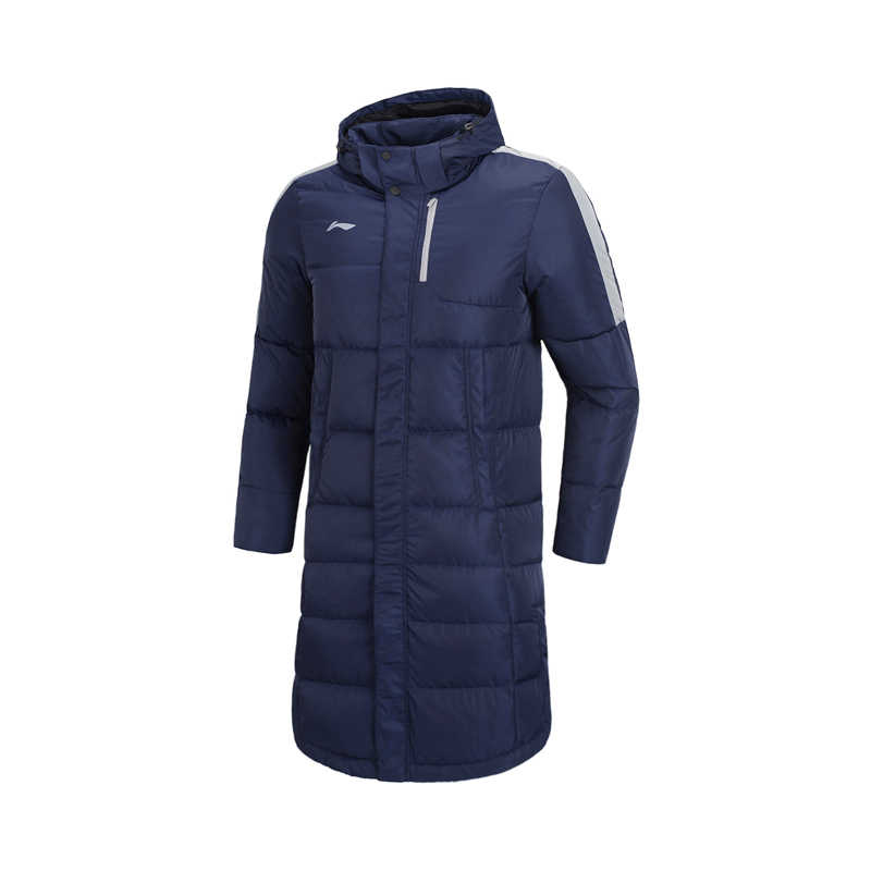 Li-Ning の男性トレーニングシリーズロングダウンフード付きコート取り外し可能な 70% 白アヒルダウン裏地冬のスポーツジャケット AYMN075 MWY316