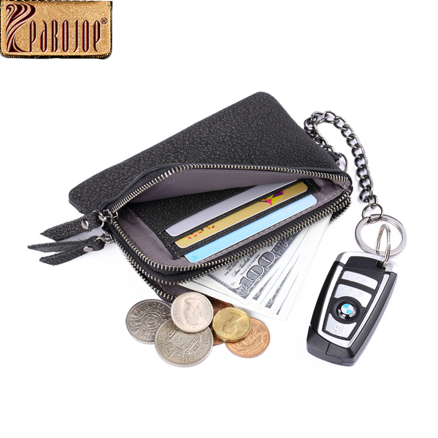 Pabojoe Mens Wallet Casual Vintage Style Credit Cards Coin Purses ID Card Money Holder with Key Chain