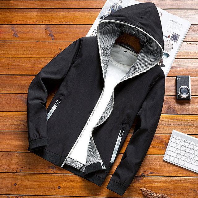 Новинка 2019 г. осенние куртки тонкий повседневный мужской жакет любовник куртка в стиле хип-хоп ветровка с капюшоном куртка пальто молния парка Мужская