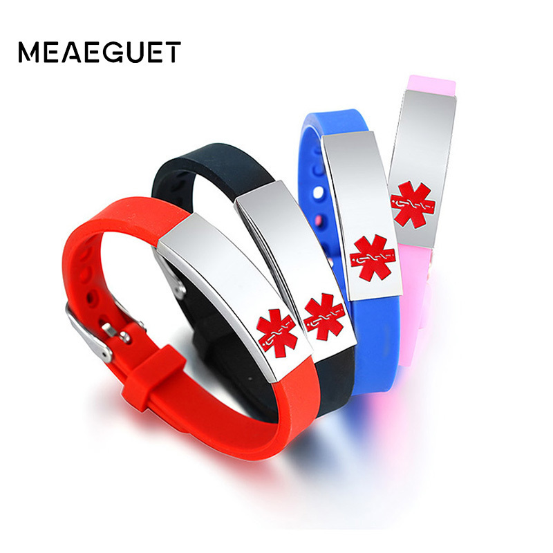 Buber Silicone Bracelet Stainless Steel Engraved Text Adjustable Hand Line Red Blue Pink Black Kids Children Women Men Bangles