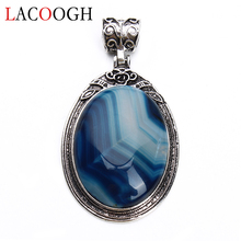 Natural Stone Crystal Blue Striped Stone 38x67mm Good Luck Bead Pendant Necklaces Charms for Women Men DIY Jewelry Making все цены