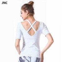 JNC White Women Yoga Shirts Sports Padded Top Shirts Sexy Cross Fitness Gym Clothing Strappy Back