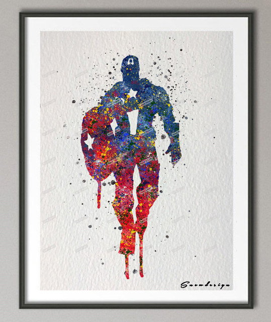 Captain America Wall Art aliexpress : buy original watercolor captain america canvas