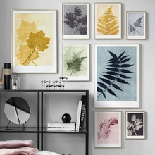 Nature Fern Leaves Peacock Feather Wall Art Canvas Painting Nordic Posters And Prints Plants Pictures For Living Room Decor