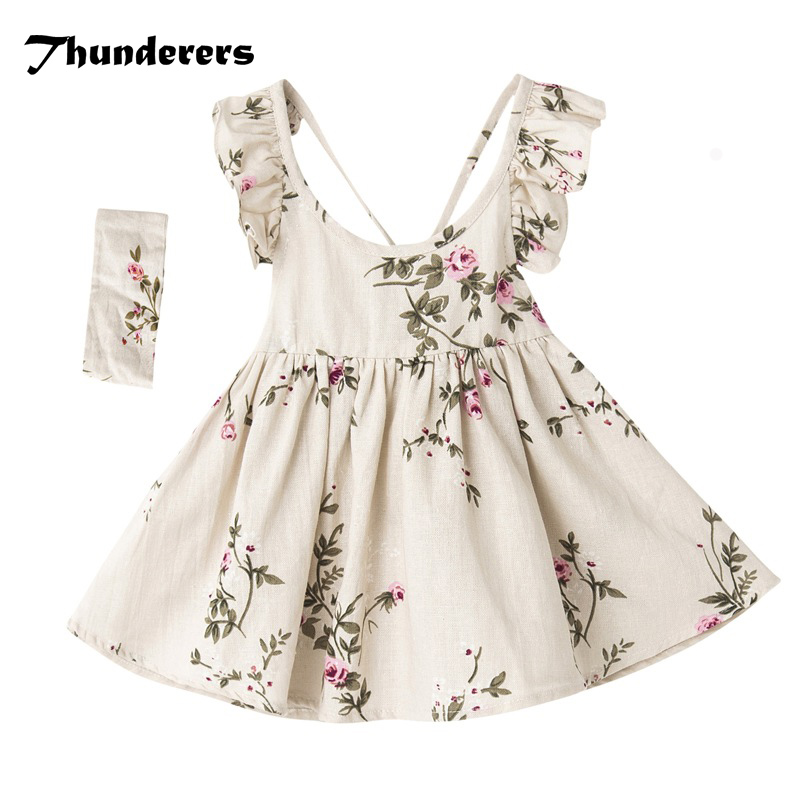 цена на Baby Girls Dress Backless Floral Beige Color Princess Dress With Hairband Summer Dresses For Kids Girl Clothing 100% Cotton