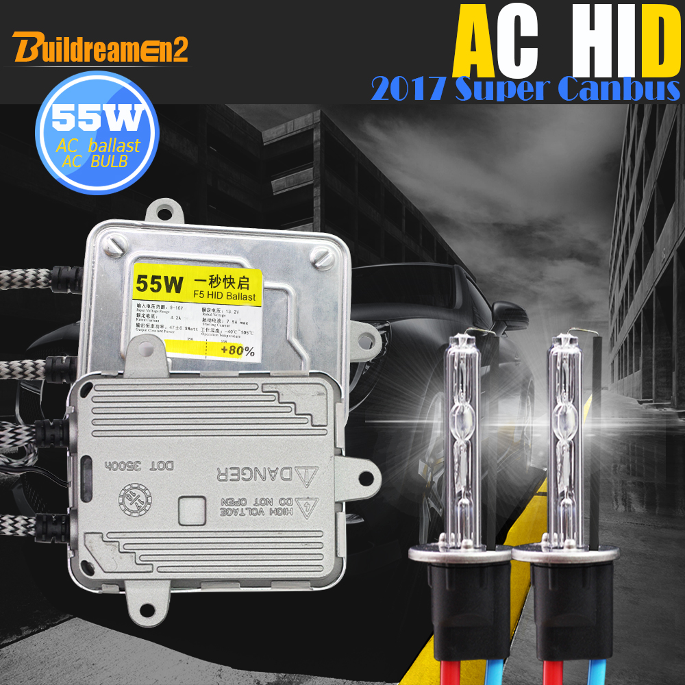 Buildreamen2 H1 H3 H7 H8 H9 H11 9005 HB3 9006 880 881 55W Canbus HID Xenon Kit AC Ballast Lamp Decoder 4300K Car Light Headlight