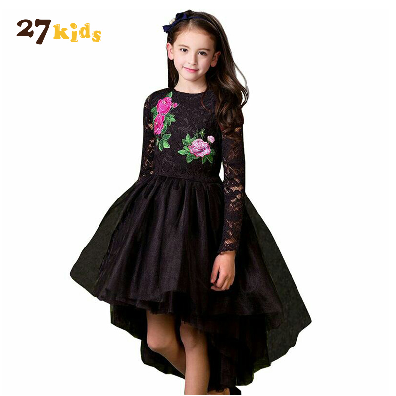 27Kids Girl Floral Dress Black Color Girls Princess Dress Spring Autumn Baby Lace Dresses Children Clothes Kids Vestido for 3-8Y baby girls white dresses for wedding and party wear girl princess dress kids lace clothes children costume age 3 4 5 6 7 8 9 10