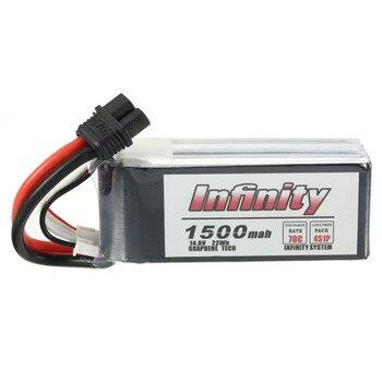 1/2 piezas infinito 4S 14,8 V 1500 mAh 70C grafeno LiPo batería recargable XT60 conector de enchufe de apoyo 15C impulsar cargador