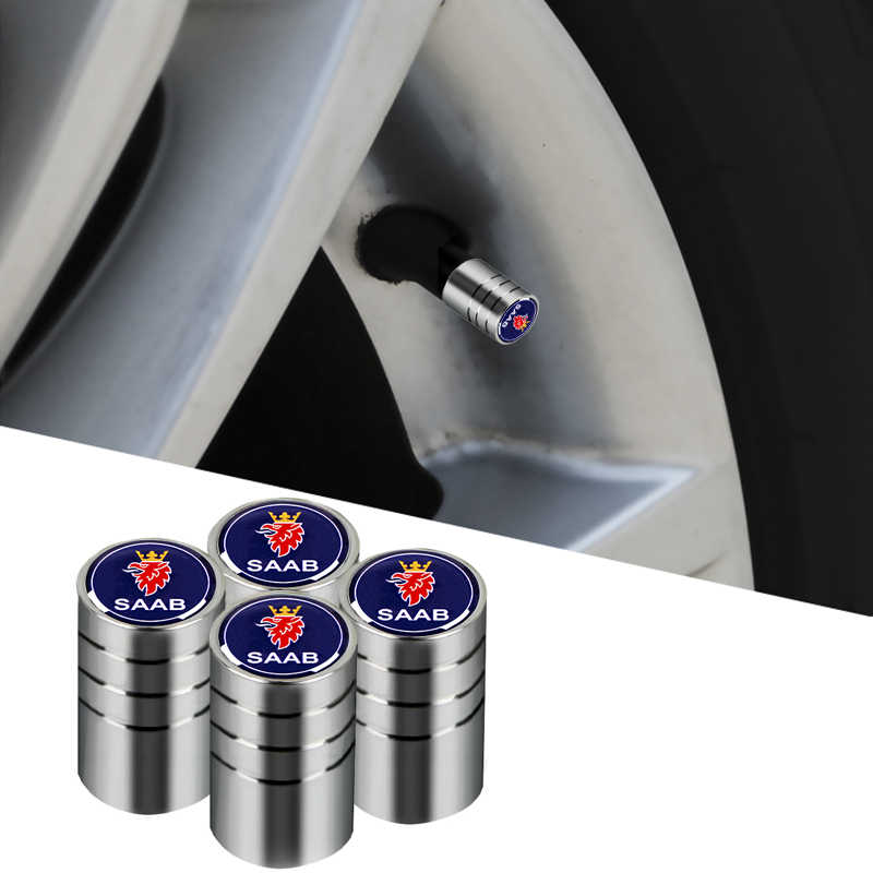 4pcs car Stickers Badge Case Emblems Stainless Steel Accessories For Saab 9-3 9-5 900 9000 Saab 93 95 chome car tire valve caps
