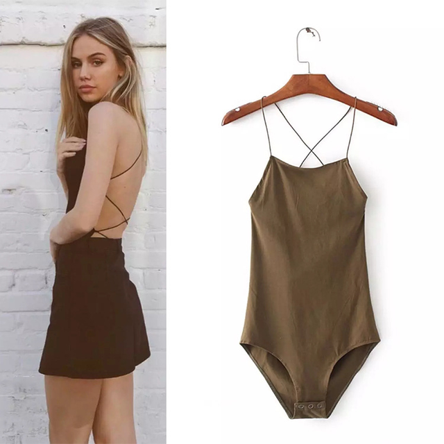 8e3bab9f28d Summer Sexy Bodysuit Backless Lace Up Bodysuits Rompers Women Jumpsuit Slim  Body Feminino Girls Playsuit 2018