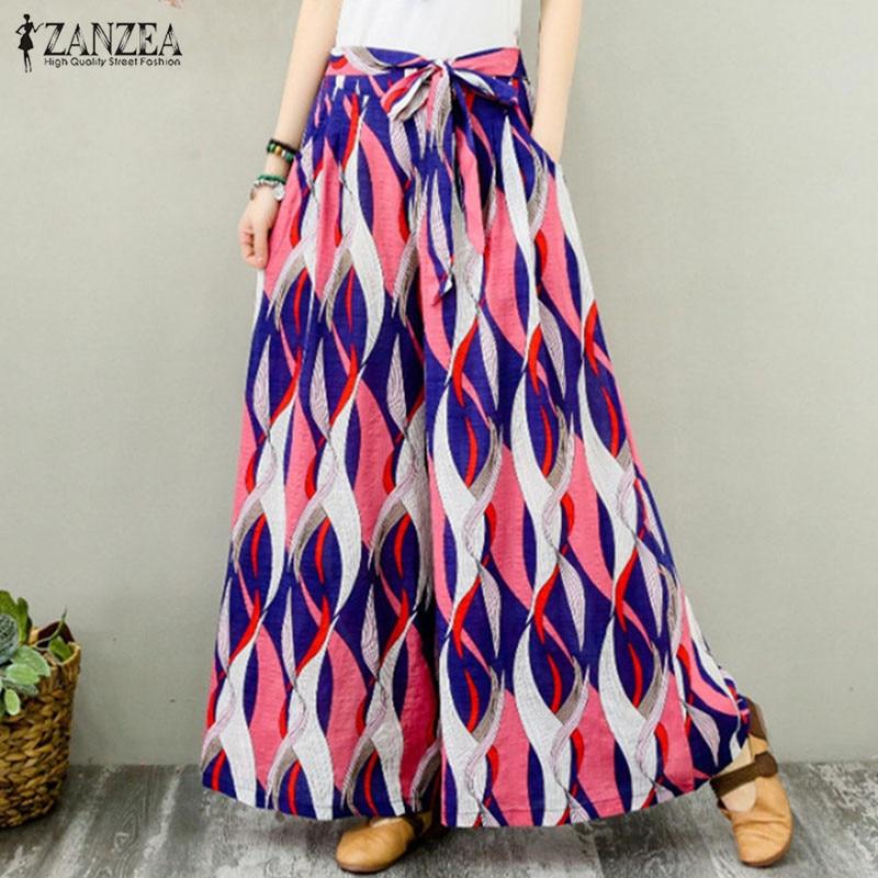 2019 Women   Wide     Leg     Pants   ZANZEA Casual Elastic Waist Pockets Long Trousers Summer Vintage Floral Printed Party Pantalon Femme