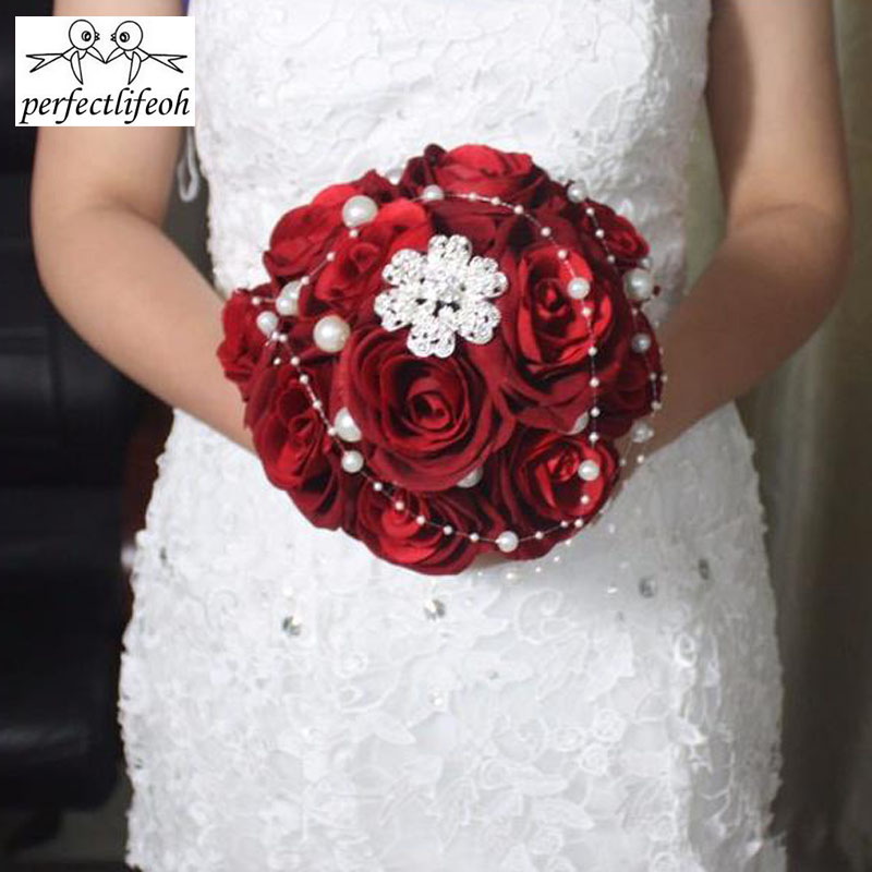 Perfectlifeoh Wine Red Roses Wedding Bouquets With Pearls