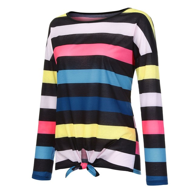 Long Sleeve Stripe Print T Shirt  2