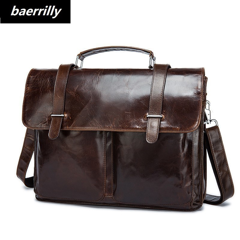 Luxury Famous Brand Genuine Cow Leather Bag Men Briefcase Business laptop bags Office Bag Briefcases maleta Large Man portfolio new p kuone famous brands briefcases men luxury genuine cow leather 13 inch laptop bag high quality handbags business travel bag