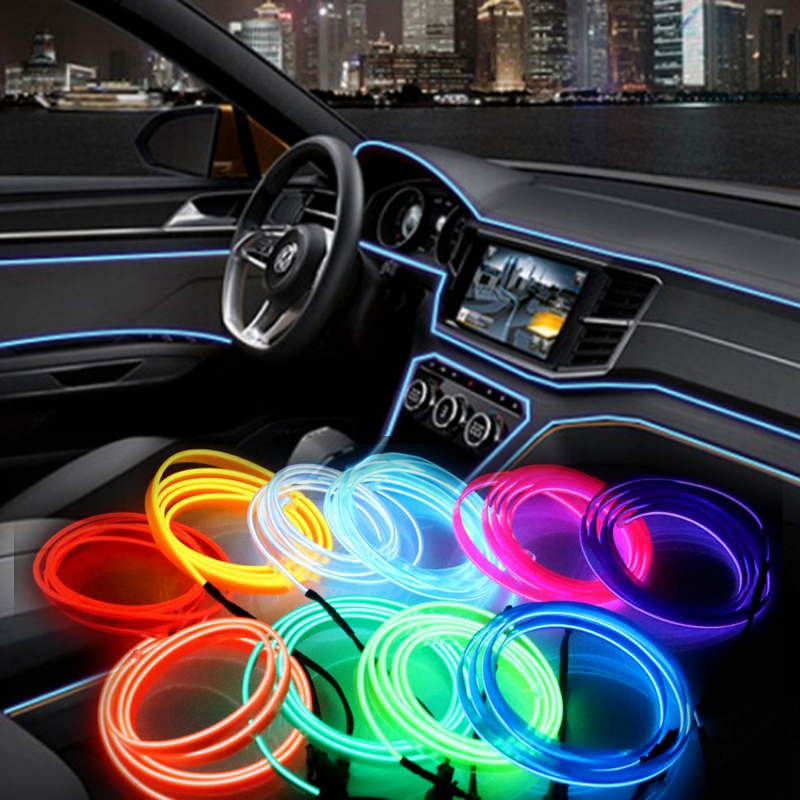 el wire flash rope tube cable led strip flexible neon lamp glow string light for car decoration. Black Bedroom Furniture Sets. Home Design Ideas