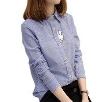 Cute Rabbit Embroidery Women Blouses 2016 Autumn Blue White Striped Blusas Fashion Long Sleeve Shirt Women