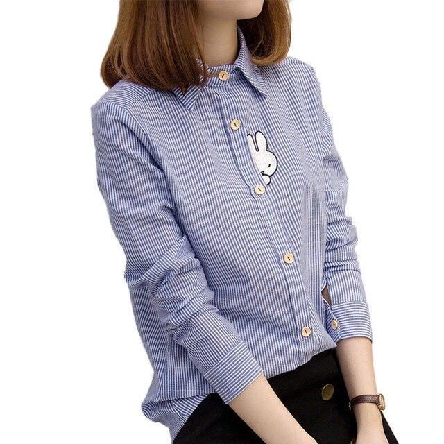 Симпатичный Кролик Вышивка Женщины Блузки 2016 Осень Синий Белый Полосатый Blusas Мода Футболка С Длинным Рукавом рубашка женская Camisas Mujer