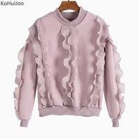 KoHuiJoo Autumn Winter Fashion Ruffle T Shirt Women Round Neck Short Sleeve Solid Streetwear Causal Korean