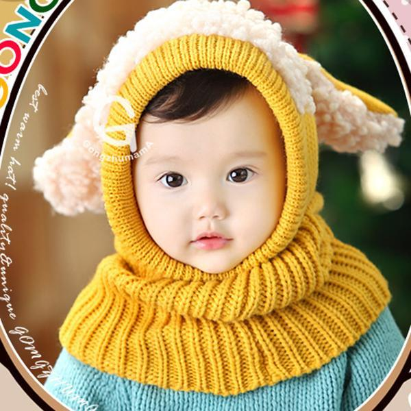 Baby Winter Hat Baby Unisex Cartoon Knit Earflap Hat Newborn Striped Woolen Hats Infant Warm Beanies Caps + Scarf Twin set 2pcs new winter beanies solid color hat unisex warm soft beanie knit cap winter hats knitted touca gorro caps for men women