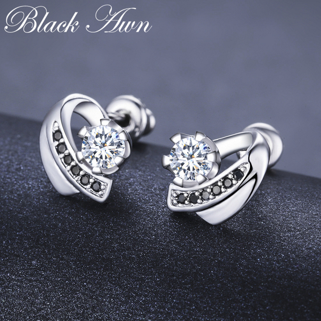 [BLACK AWN] Wedding Stud Earrings for Women Genuine 925 Sterling Silver Jewelry Black Spinel Stone Boucle D'oreille Brincos T038