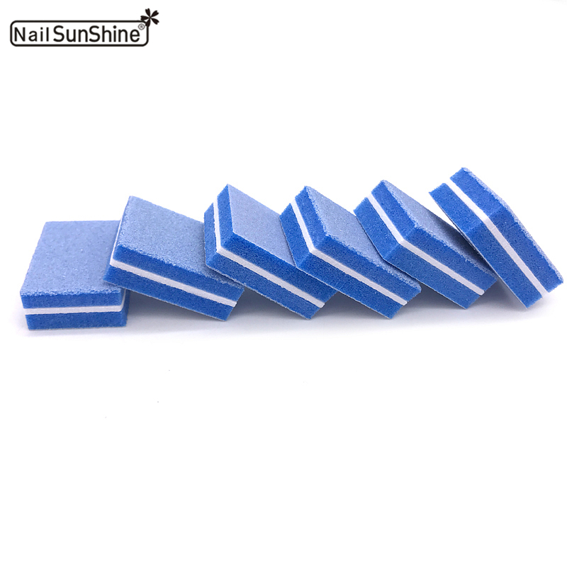 50pcs/lot Sponge Nail File Blue Colors Sanding Buffer Polish Block Nail Files Double Side Manicure Makeup Tools High Quality