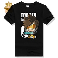 Anime Game Watch Over Tee Shirt Comic Con Tee Shirt OW Fans Lovely Character Tracer T
