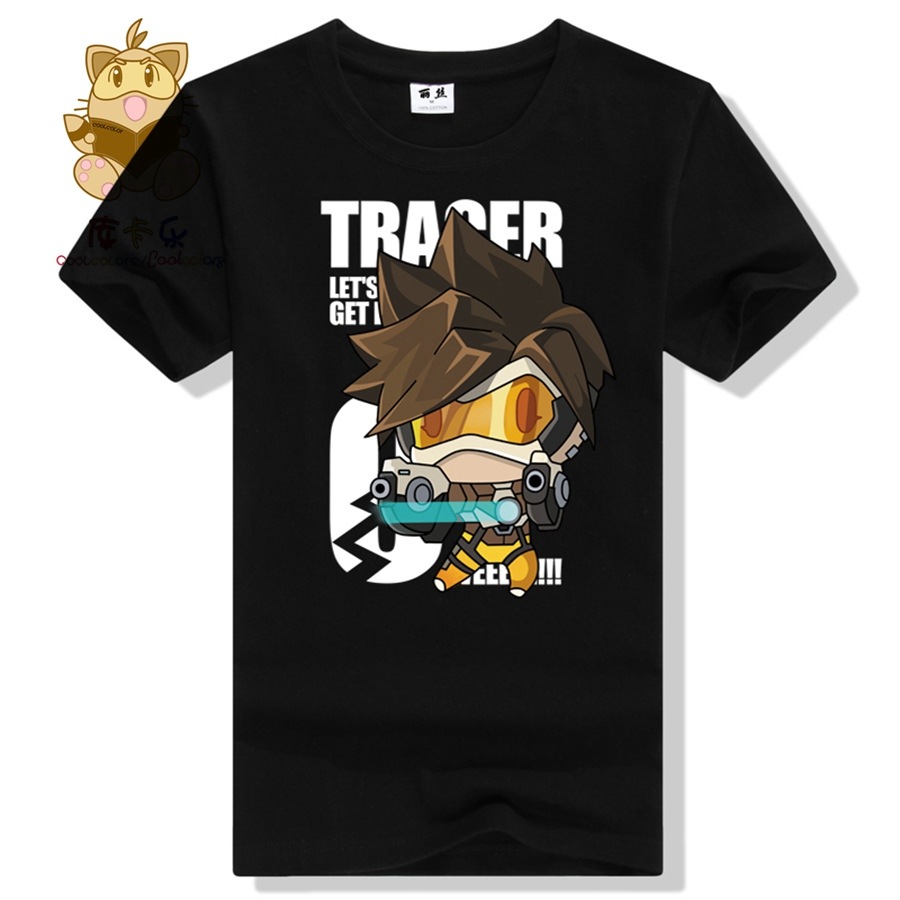 Anime game watch over tee shirt comic con tee shirt OW fans lovely character Tracer t shirt Q version Tracer ac289