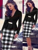 우아한 비즈니스 여성 Peplum 드레스 긴 소매 격자 무늬 V 넥 섹시한 사무실 작업 시스 연필 Bodycon 드레스 플러스 사이즈 미디 드레