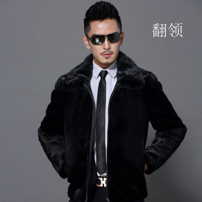 Marten winter overcoat thicken thermal leather jacket men casual straight mens short design mink hair faux coats hooded black