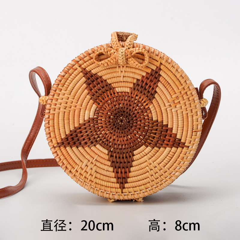 Bali Hand Woven PU Leather Bag Round Butterfly buckle Rattan Straw Bags Circle Beach Travel Shoulder Crossbody Bag For Women все цены