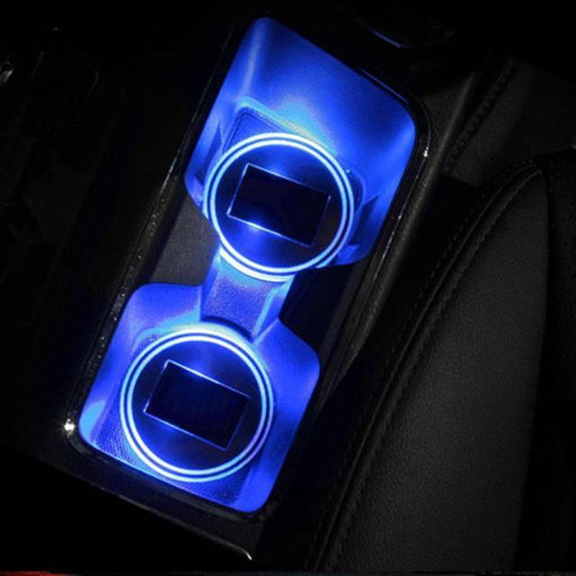 Vehemo Universal Car Interior Auto Anti-Slip Mat Waterproof Solar LED Light Lamp Cup Holder Mat Pad Bottle Drinks Accessories