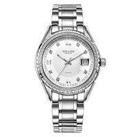 Zegarki meskie Relógios de Diamante Moda Mesa de Quartzo Impermeável Aço Inoxidável 316L dos homens data dos homens relógios de pulso