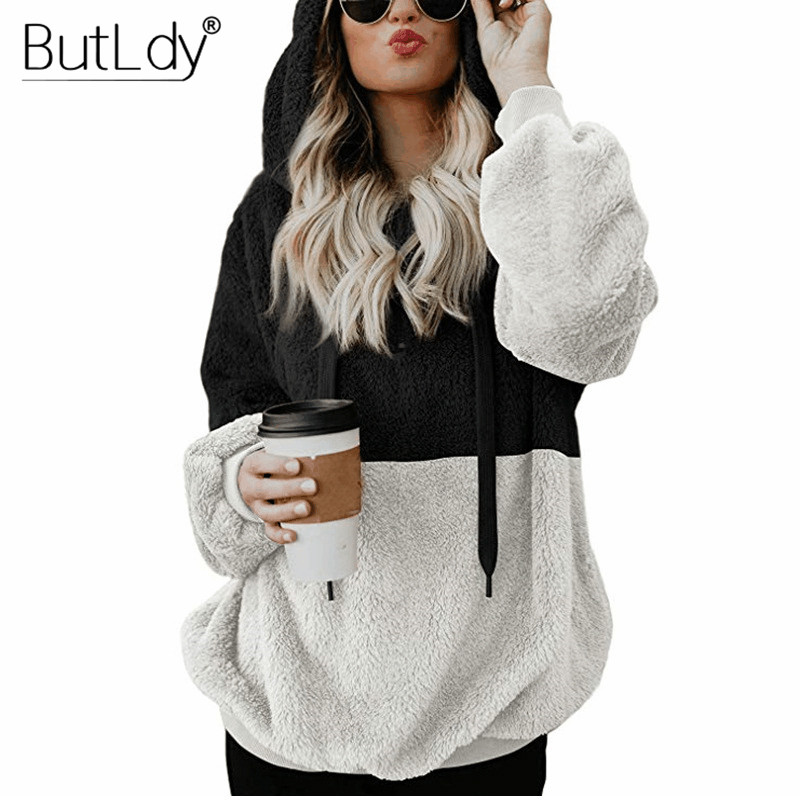 e9e94857b971c Patchwork Zipper Hoodies Winter Plush Thick Warm Slim Sweatshirt Women Long  Sleeve Pockets Black Casual Pullover Hoodie Tops -in Hoodies   Sweatshirts  from ...