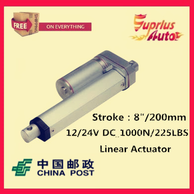 Free Shipping high quality 12v linear actuator with 200mm/8 inch stroke 225lbs/1000N/100kgs push load actuator linearFree Shipping high quality 12v linear actuator with 200mm/8 inch stroke 225lbs/1000N/100kgs push load actuator linear