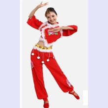 Chinese Folk Dance Costume National Clothings Fan Dance Performances Waist Drum Dance clothes
