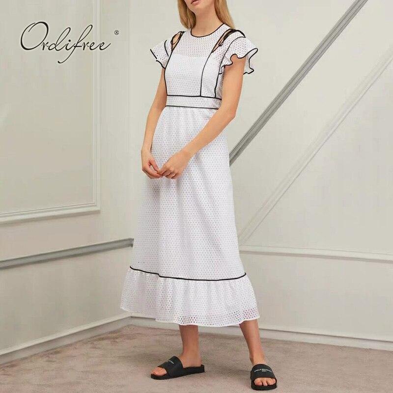 Ordifree 2019 été blanc longue robe de soirée blanc dentelle à volants femmes piste Maxi robe