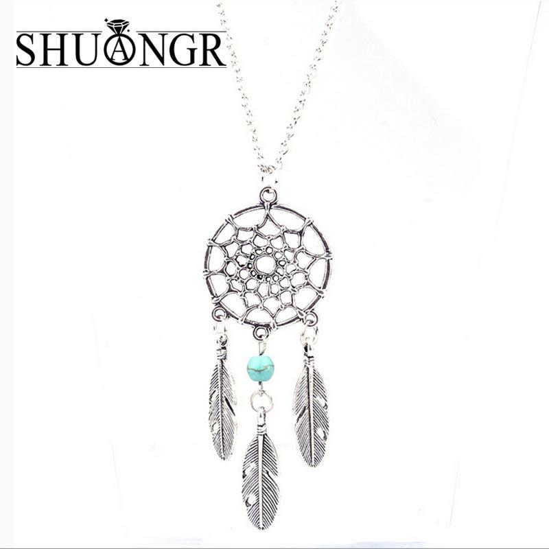 SHUANGR Trendy Style Dreamcatcher Pendant Mandala Lotus Necklace Yoga  Feather Stone Pendant Jewelry Dream Catcher Necklace