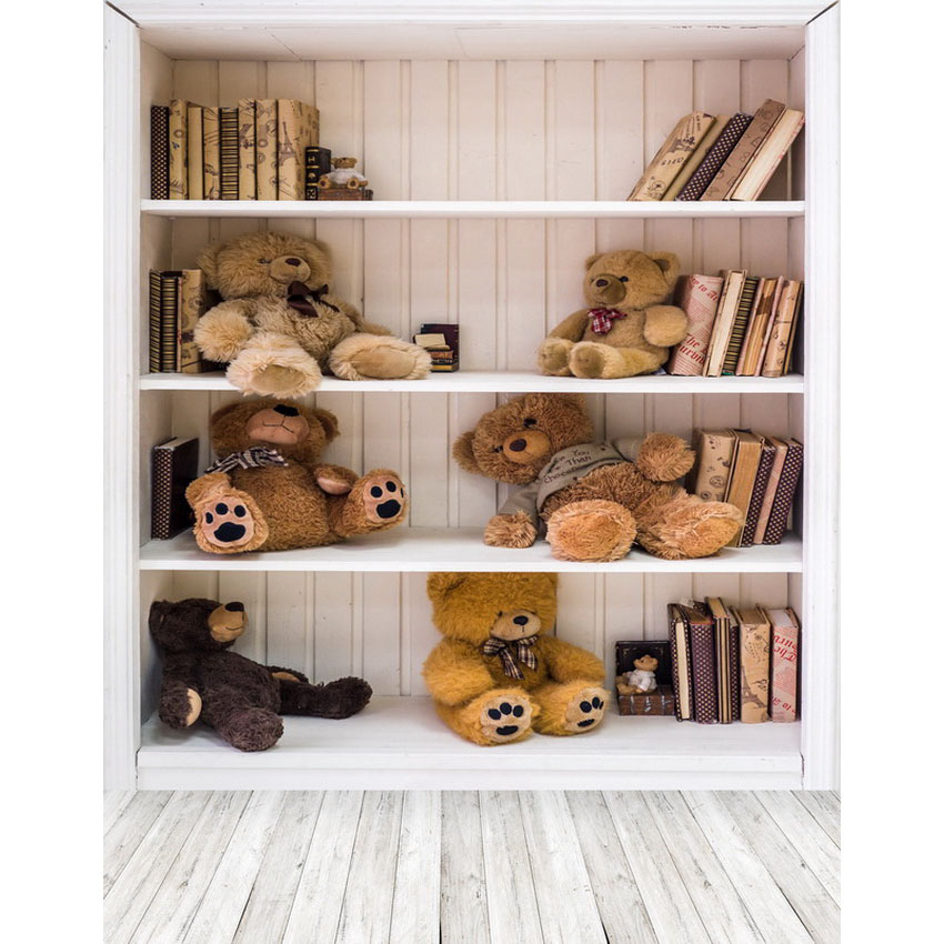 5X7ft Vinyl lovely book shelf bears children newborn wooden floor photo background photography backdrop thin vinyl vintage book shelf backdrop book case library book store printed fabric photography background f 2686