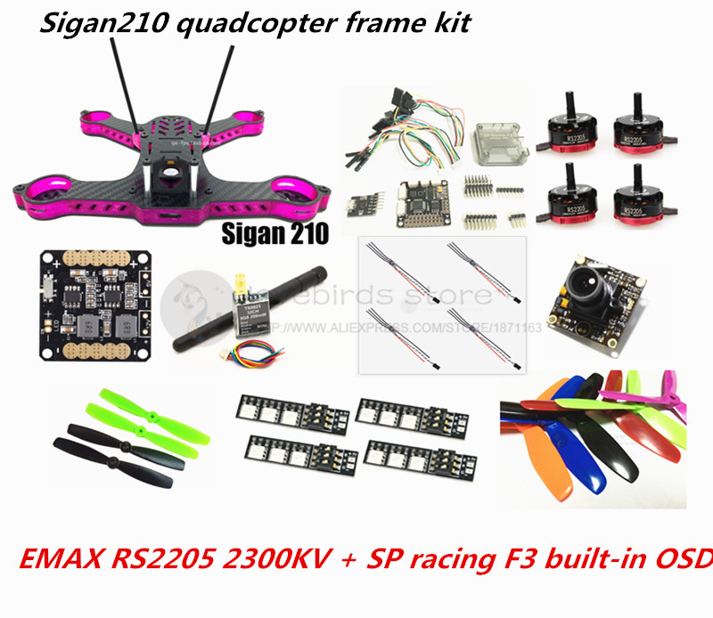 DIY Sigan210 FPV mini drone frame kit EMAX RS2205 + littlebee 20A ESC 2-4S + SP racing F3 built-in OSD (ACRO / DELUXE) + camera mini 130mm carbon fiber fpv quadcopter frame kits with emax 1306 4000kv motor littlebee blheli s spring 20a esc f3 f4 fc ts5823l