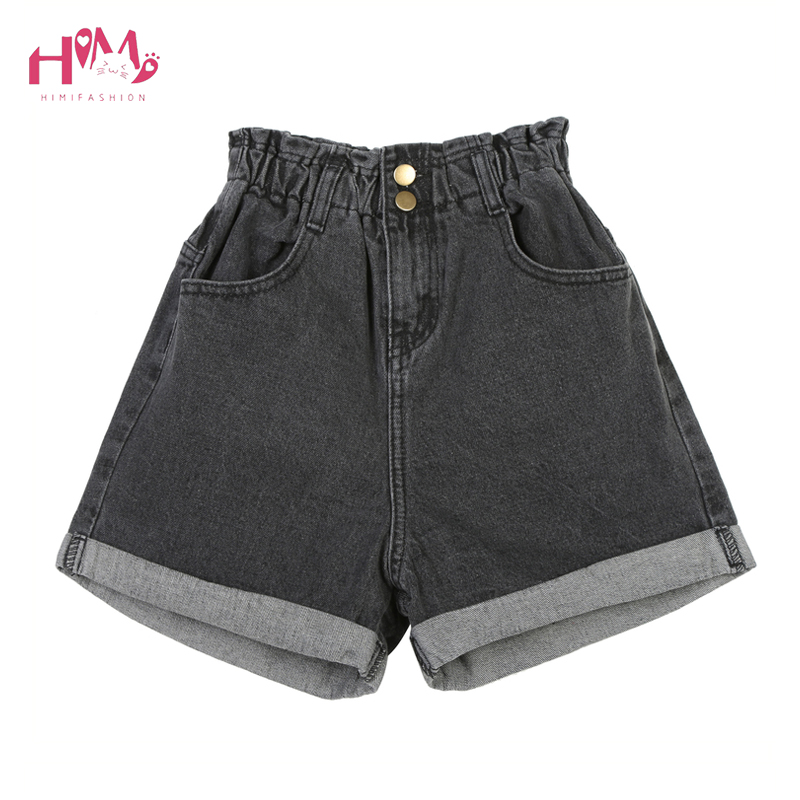 Women's Casual Ruffle Waist Roll Up Distressed Denim   Shorts   Elastic Waist Hemming Jeans   Shorts   Loose Button Fly Black   Shorts