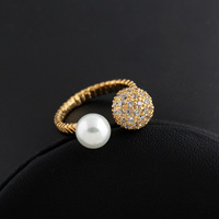 High Quality Big Pearl Crystal Bead Cuff Ring 18k Yellow Gold Filled Personalized Ring For Women