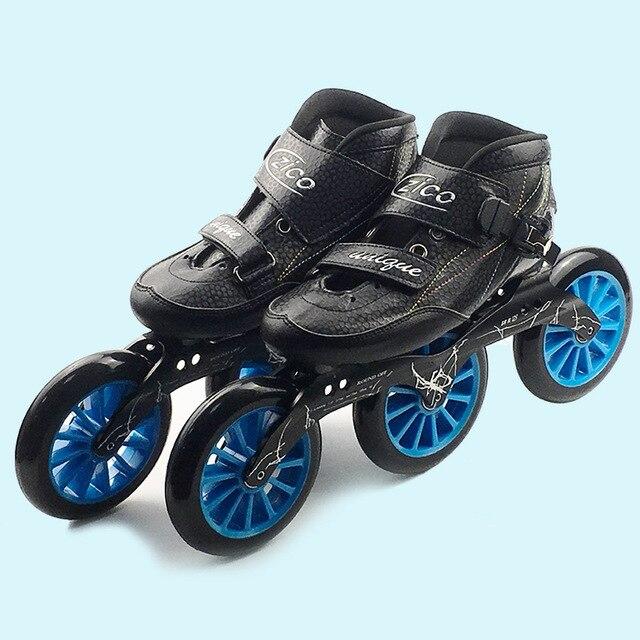4 ruedas Patines velocidad Patines en línea ZICO de carreras profesional  patinaje Patines para niños adultos 96622343ae5