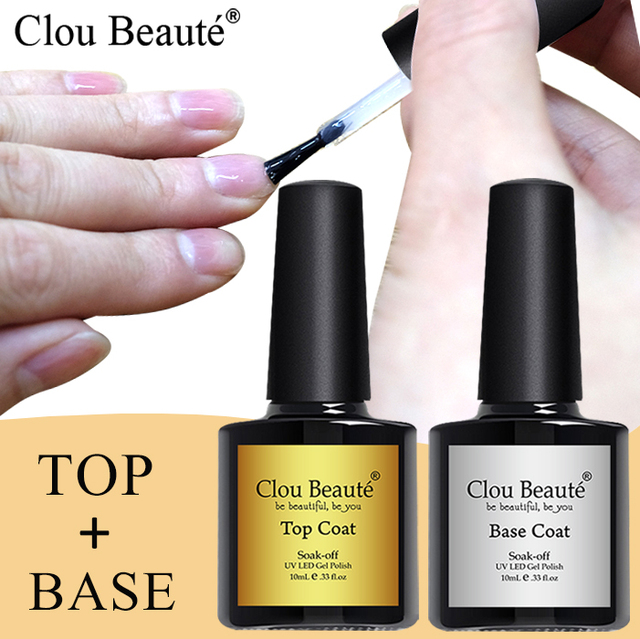 Clou Beaute Base And Top Coat 10ml Gel Nail Polish UV Transparent Soak Off Primer Gel Polish Gel Lacquer Nail Art Manicure TBB01