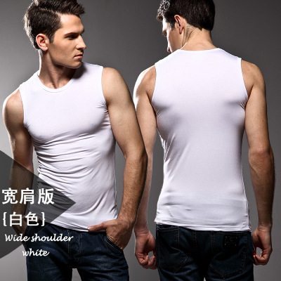 Image 5 - 3pcs High quality Men's modal Solid color underwear clothing close fitting vest lycra high elasticity broad shoulder undershirts-in Undershirts from Underwear & Sleepwears