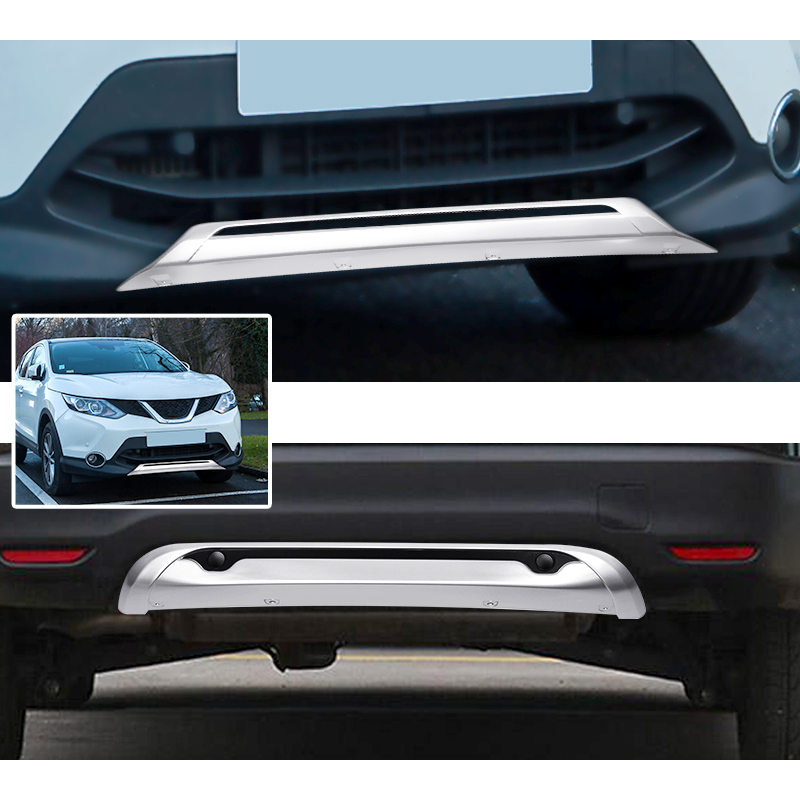 2x for Nissan Qashqai Dualis J11 2014 2015 2016 Car Front and Rear Bumper Skid Protector Guard Plate Car Styling ABS Accessories car accessories abs front rear bumpers car bumper protector guard skid plate fit for 2012 2014 great wall haval hover m4