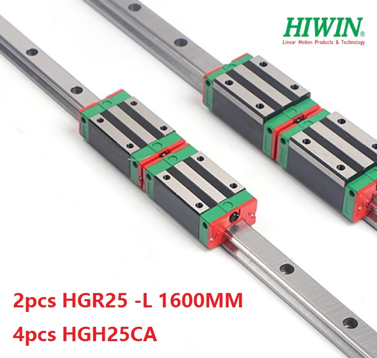 2pcs Hiwin linear guide HGR25-1600MM + 4pcs HGH25CA linear narrow blocks for cnc router2pcs Hiwin linear guide HGR25-1600MM + 4pcs HGH25CA linear narrow blocks for cnc router