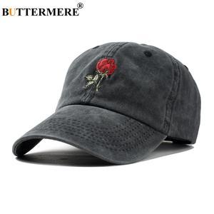 BUTTERMERE Hats Baseball-Cap Rose Black Spring Embroidery Adjustable Women Ladies Dad-Hat